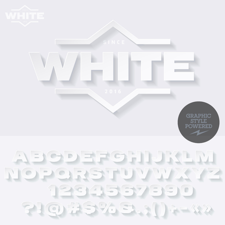 high fashion: White emblem with shadow for high fashion store. Vector set of letters, numbers and symbols