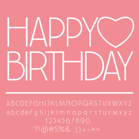 Cute Pink Happy Birthday Card With Heart And Greeting Text Vector