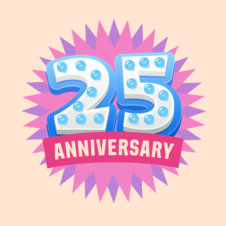 wedding gift: Cute and bright vector greeting 25 anniversary card. Gift for birthday, wedding and other celebration Illustration
