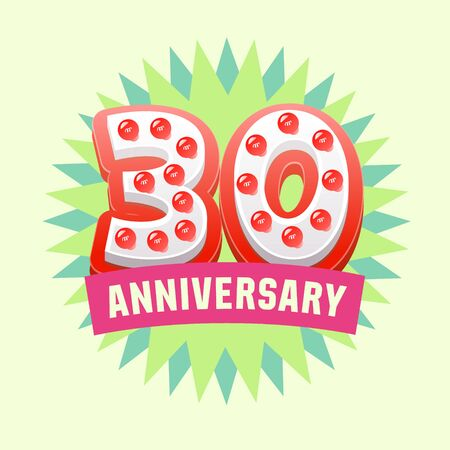 wedding gift: Cute and bright vector greeting 30 anniversary card. Gift for birthday, wedding and other celebration