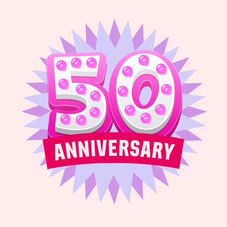 wedding gift: Cute and bright vector greeting 50 anniversary card. Gift for birthday, wedding and other celebration