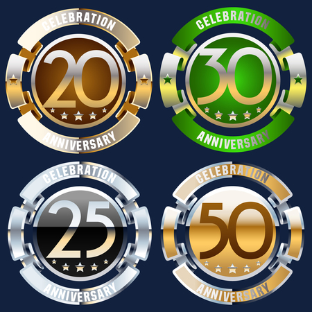 Luxury glossy vector greeting 20, 30, 25, 50 anniversary card with ribbons. Gift for birthday, wedding and other celebration 일러스트