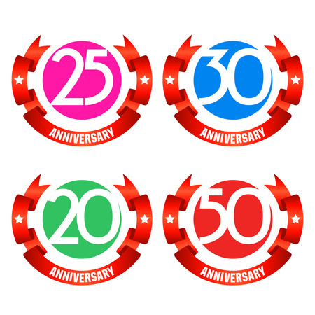 wedding gift: Bright minimalistic vector greeting 20, 25, 30, 50 anniversary card with red ribbons. Gift for birthday, wedding and other celebration