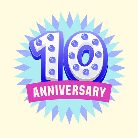 Cute and bright vector greeting 10 anniversary card. Gift for birthday, wedding and other celebration 向量圖像