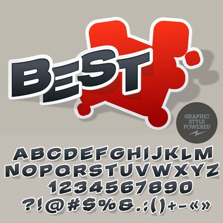 Sticker style emblem for for car and motorcycle store. Vector set of letters and numbers