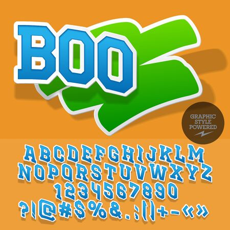 Fresh sticker style emblem for organic, ecologic store. Vector set of letters and numbers