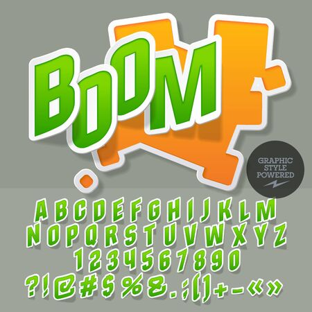 Sticker style emblem for toy shop. Vector set of letters and numbers