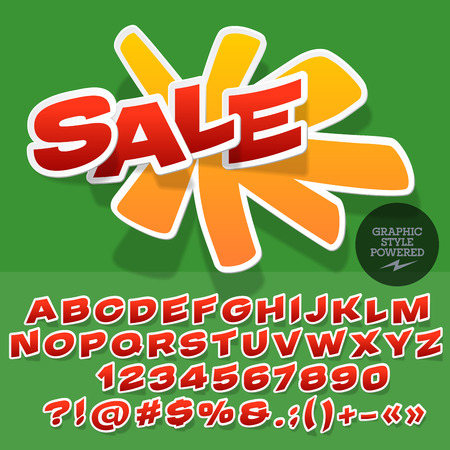 Sticker style emblem for shop, store, market. Vector set of letters and numbers