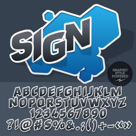 Sticker style emblem for for motor shop. Vector set of letters and numbers