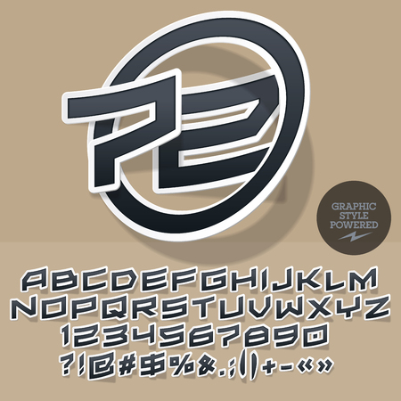 Sticker style emblem for for motor shop or club. Vector set of letters and numbers