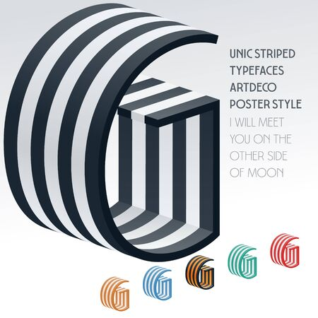 optional: Vector stripped 3D alphabet. Optional different colors. Letter G Illustration