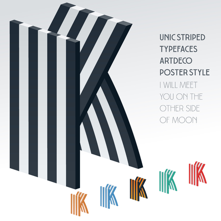 optional: Vector stripped 3D alphabet. Optional different colors. Letter K Illustration