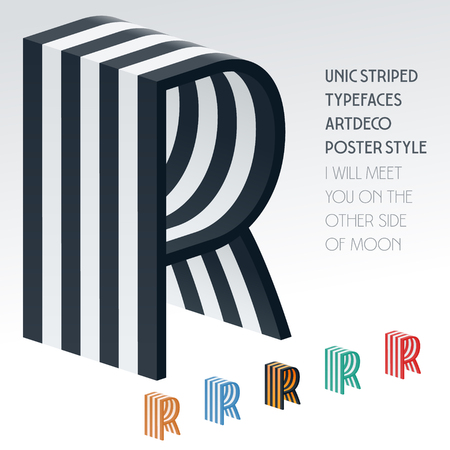 optional: Vector stripped 3D alphabet. Optional different colors. Letter R