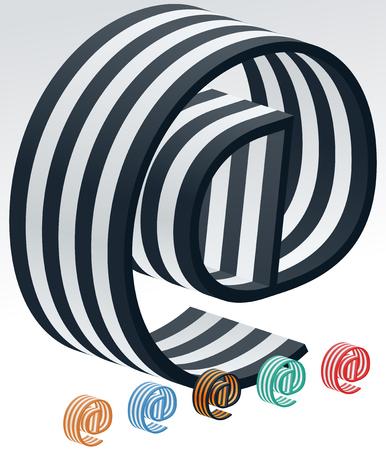 typeface: Vector stripped 3D alphabet. Optional different colors. Symbol