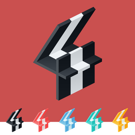 3D trendy and stylish graphic vector stripped alphabet. Optional different colors. Number 4