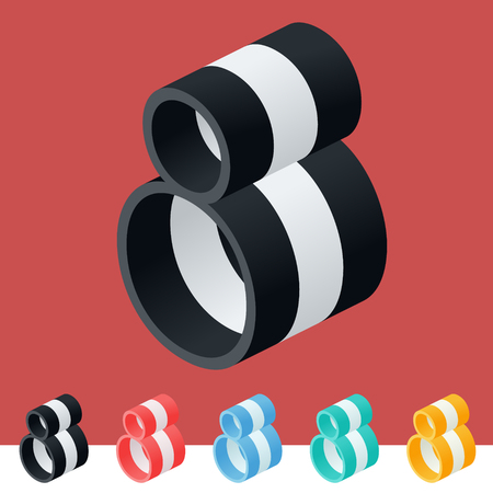optional: 3D trendy and stylish graphic vector stripped alphabet. Optional different colors. Number 8