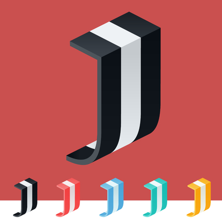 optional: 3D trendy and stylish graphic vector stripped alphabet. Optional different colors. Letter J Illustration
