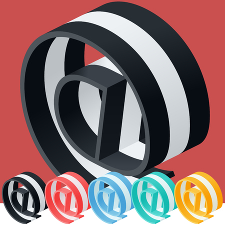 optional: 3D trendy and stylish graphic vector stripped alphabet. Optional different colors. Symbol Illustration