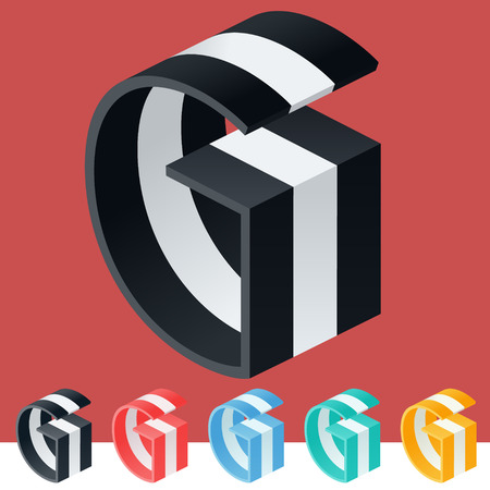 g alphabet: 3D trendy and stylish graphic vector stripped alphabet. Optional different colors. Letter G