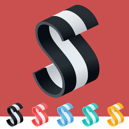 3d trendy and stylish graphic vector stripped alphabet optional
