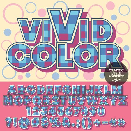 motley: bright alphabet with checks. Motley card with text Vivid color with circles on background.  Set of violet and blue checkered numbers, symbols and letters.
