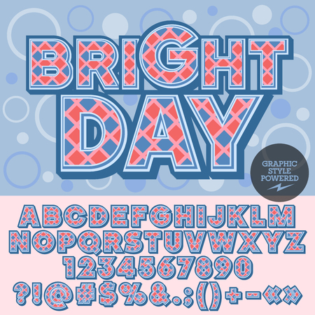 rhomb: blue checkered alphabet. Nice card with text Bright day with circles on background.  Set of numbers, symbols and letters with pink, red and blue pattern