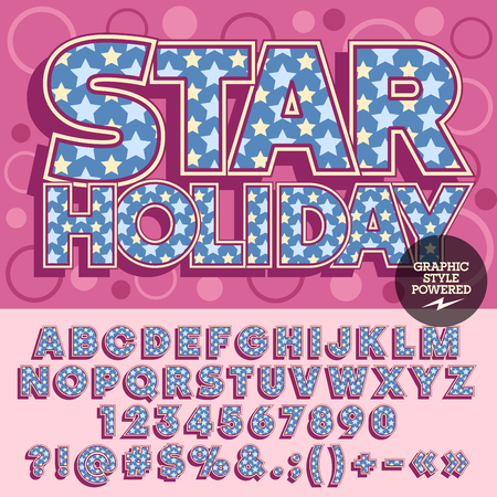 stars and symbols: unique bright alphabet. Poster with text Star holiday with circles on background.  Set of numbers, symbols and letters with blue and yellow stars
