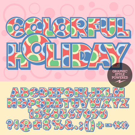 motley: motley alphabet with circles. Vivid card with text Colorful holiday. Set of numbers, symbols and letters with multicolor pattern
