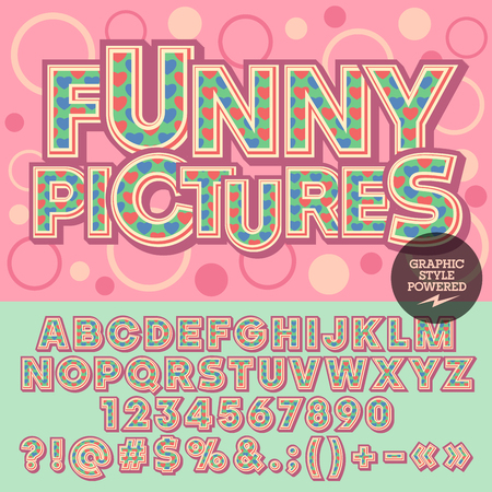 funny pictures: lovely heart alphabet. Motley card with text Funny pictures with circles on background. Set of numbers, symbols and letters with blue and red hearts