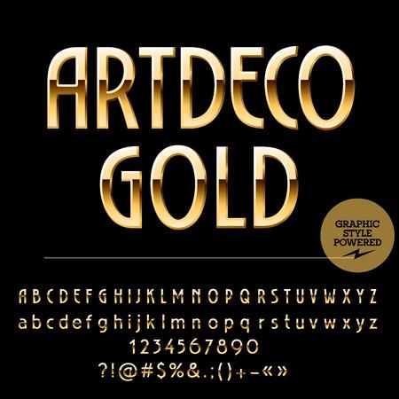 Vector conjunto de letras del alfabeto de oro hermosa, números y signos de puntuación. estilo fino del art déco Foto de archivo - 57402463