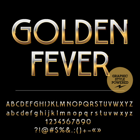 golden symbols: Vector set of royal golden alphabet letters, numbers and punctuation symbols. Art Deco style
