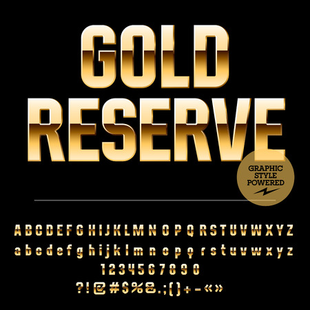 Vector set of elite gold alphabet letters, numbers and punctuation symbols. Condense style