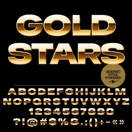 Vector conjunto de letras del alfabeto glamour oro, números y signos de puntuación. Extended estilo atrevido Foto de archivo - 57402458
