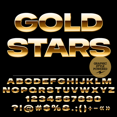 golden symbols: Vector set of glamour golden alphabet letters, numbers and punctuation symbols. Extended bold style