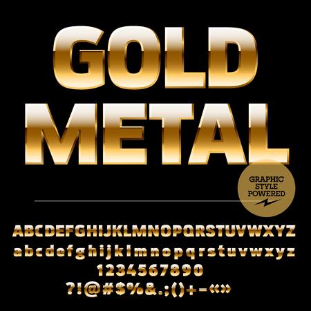 letras doradas: Vector conjunto de letras del alfabeto rica de oro, números y signos de puntuación. Estilo ultra compacta negrita Vectores