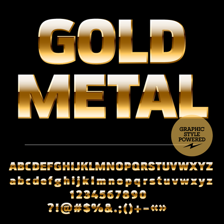 bling bling: Vector set of rich gold alphabet letters, numbers and punctuation symbols. Compact ultra bold style