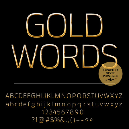 Vector set of shiny golden alphabet letters, numbers and punctuation symbols. Compact normal style