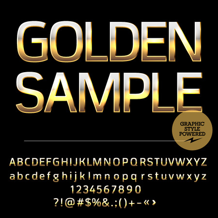 Vector Reihe von Luxus-gold Alphabet Buchstaben, Zahlen und Satzzeichen. Compact kühnen Stil