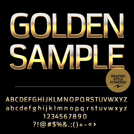 Vector set di lettere dell'alfabeto d'oro deluxe, numeri e simboli di punteggiatura. stile audace Compact