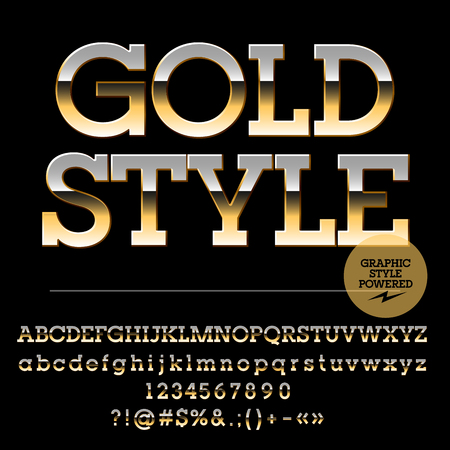 Vector set of luxury golden alphabet letters, numbers and punctuation symbols. Slab style Illustration