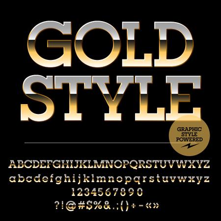 golden symbols: Vector set of luxury golden alphabet letters, numbers and punctuation symbols. Slab style Illustration