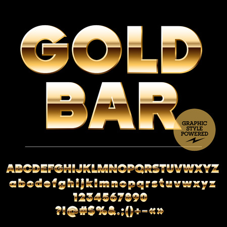 Vector set of chic gold alphabet letters, numbers and punctuation symbols. Sans ultra bold style Illustration