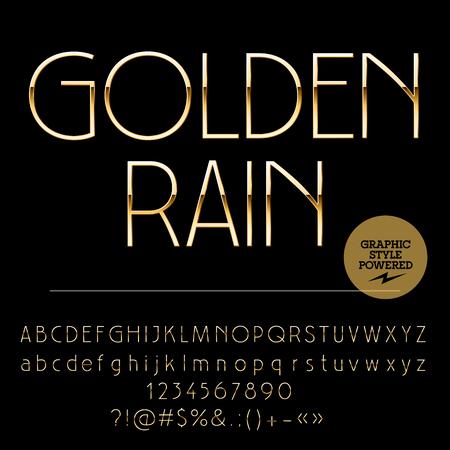 Vector Reihe von eleganten goldenen Alphabet Buchstaben, Zahlen und Satzzeichen. Art-Deco-Stil schlank Standard-Bild - 57402497