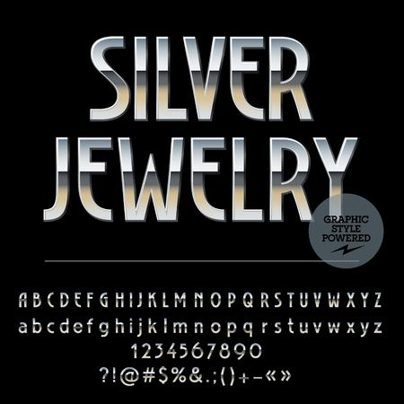 cromo: Vector conjunto de letras del alfabeto de plata real, números y signos de puntuación. estilo fino del art déco