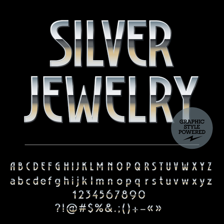 chrome: Vector set of royal silver alphabet letters, numbers and punctuation symbols. Art Deco thin style