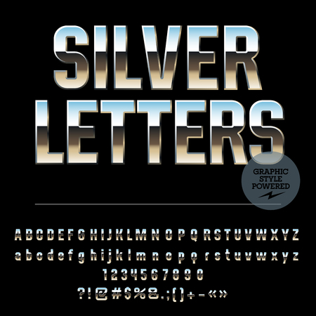condense: Vector set of glossy silver alphabet letters, numbers and punctuation symbols. Condense style Illustration