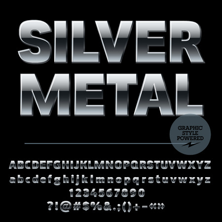 style: Vector set of luxury silver alphabet letters, numbers and punctuation symbols. Compact ultra bold style