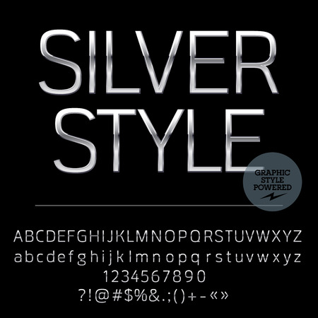 trend: Vector set of elegant silver alphabet letters, numbers and punctuation symbols. Compact normal style