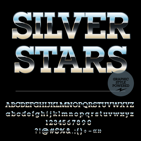 typeset: Vector set of stylish silver alphabet letters, numbers and punctuation symbols. Slab style