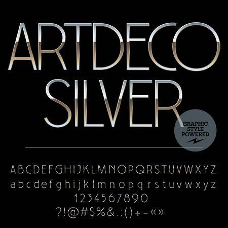 Wektor zestaw liter alfabetu idealne srebrne, cyfr i znaków interpunkcyjnych. Art Deco styl szczupły Ilustracje wektorowe